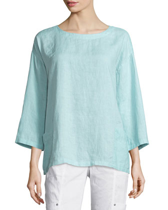 Organic Handkerchief Linen Tunic w/ Pockets, Green Mint, Petite
