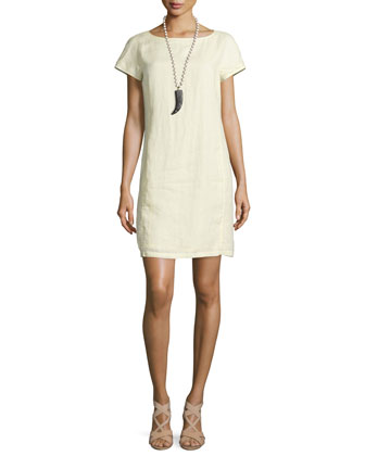 Classic Short-Sleeve Sheath Dress
