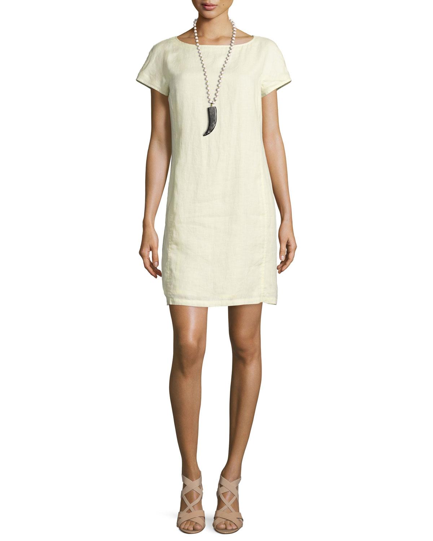Classic Short-Sleeve Sheath Dress, Women's, Size: LARGE (14/16), Black - Eileen Fisher