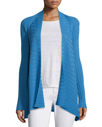 Variegated Ribbed Open Cardigan, Petite