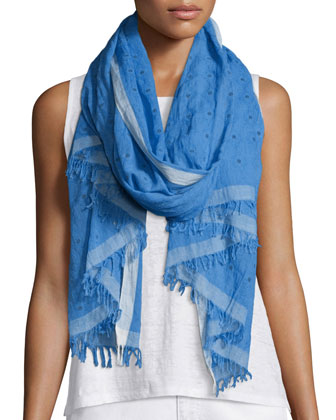 Hand-Loomed Sequined Cotton Scarf