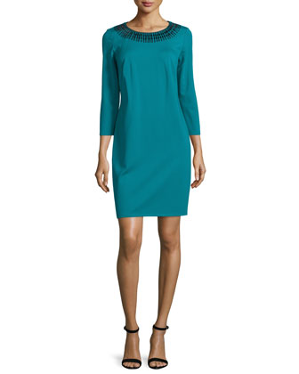 3/4-Sleeve Embellished Sheath Dress, Fanfare