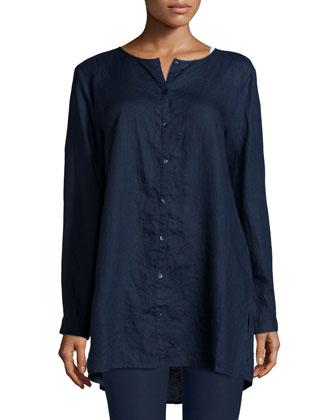 Organic Linen Long Shirt, Midnight, Petite
