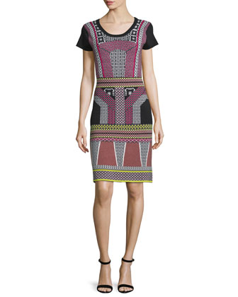 Short-Sleeve Round-Neck Sweater Dress, Pink Fuzz/Multi
