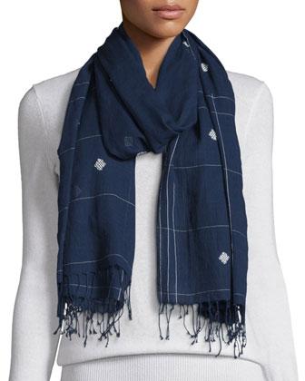 Organic Linen Long Tunic, Jamdani Hand-Loomed Check Scarf & Washable ...