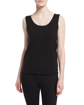 Scoop-Neck Fitted Tank, Black