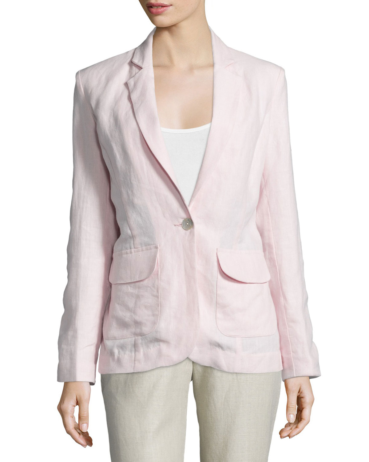 One-Button Fitted Linen Blazer, Women's, Size: LARGE12-14, Light Pink - Neiman Marcus