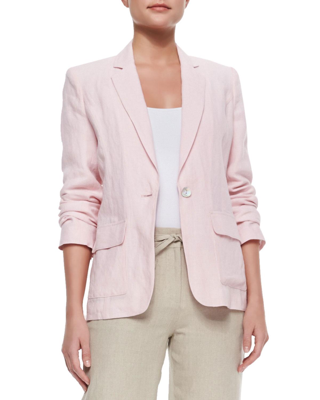 One-Button Fitted Linen Blazer, Women's, Size: 2X/20-22W, Light Pink - Neiman Marcus