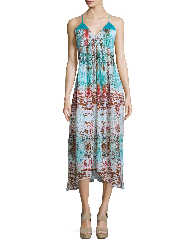 Sleeveless V-Neck Printed Midi Dress, Turquoise, Women's, Size: S/4-6 - Neiman Marcus