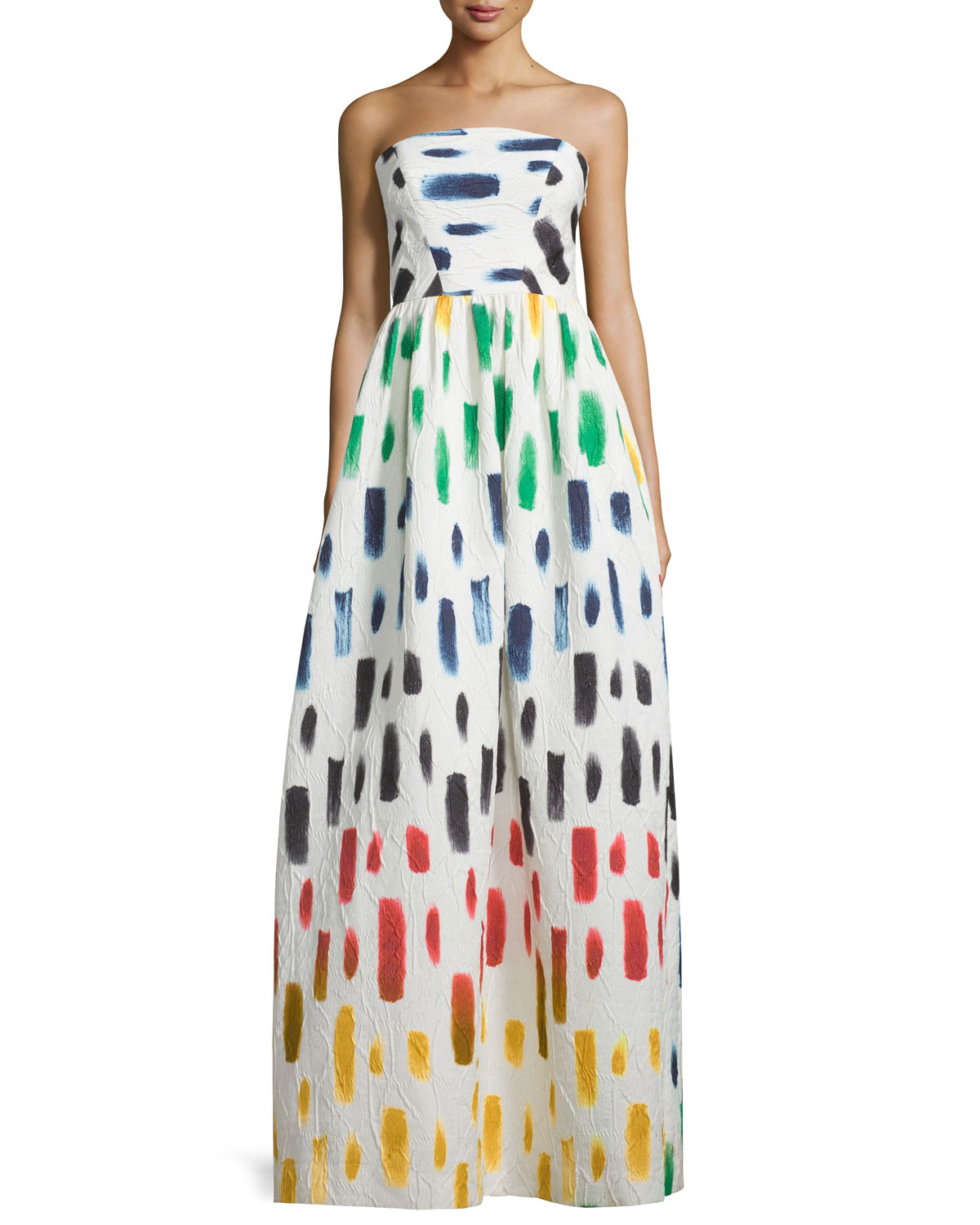 Strapless Brushstroke-Print Ball Gown, Multi Colors, Size: 0 - Milly