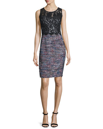 Sleeveless Mixed-Media Sheath Dress, Black/Multi