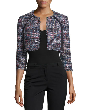 3/4-Sleeve Open-Front Crop Jacket, Black/Multi