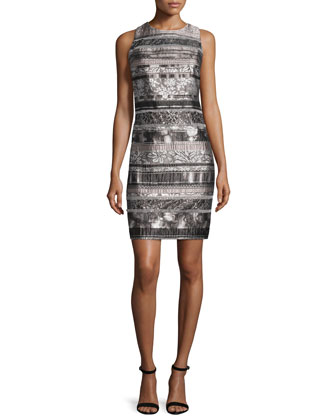 Sleeveless Mixed-Media Sheath Dress, Smoke/Multi