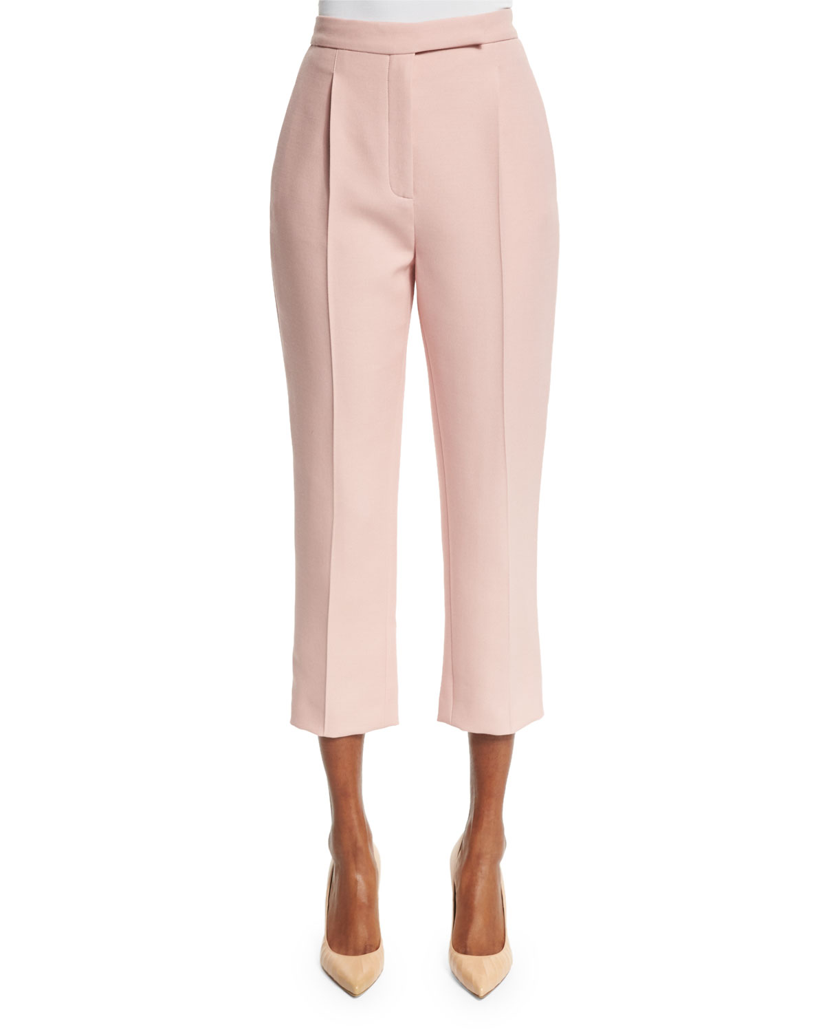 Pleated-Front Cropped Pants, Blush, Size: 38 - Valentino