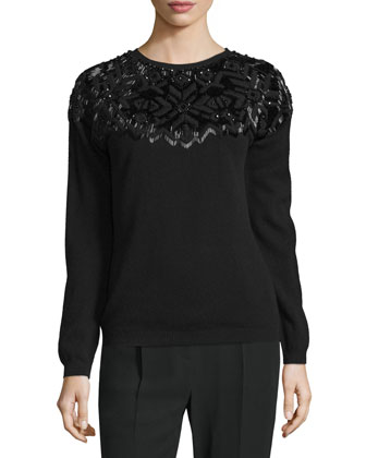 Embellished-Yoke Long-Sleeve Sweater, Nero