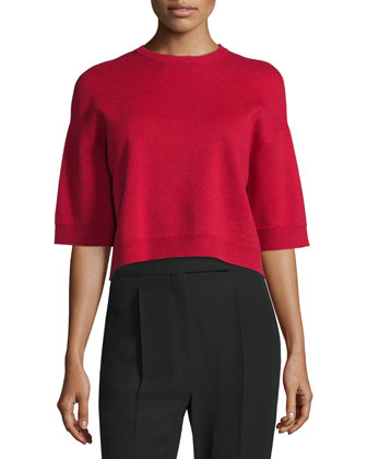 Half-Sleeve Cropped Cashmere Sweater, Rosso