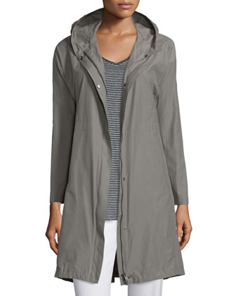 Hooded Weather-Resistant Long Jacket, Petite
