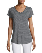 Short-Sleeve Skinny Striped Tee, Women's