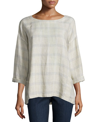 3/4-Sleeve Catalan Plaid Top, Natural, Women's