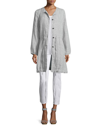 Double-Face Linen/Cotton Long Jacket