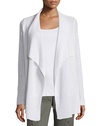 Ribbed Drape-Front Cardigan, Women's