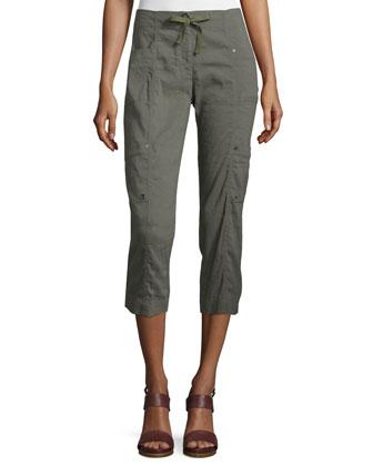 Drawstring Cropped Cargo Pants, Women's