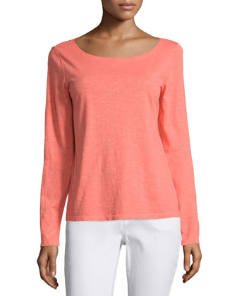 Long-Sleeve Slubby Cotton Top, Women's