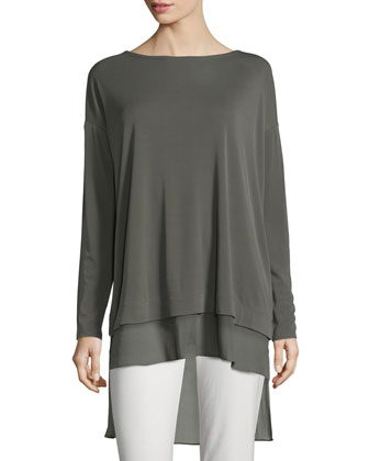 Long-Sleeve Layered Silk Tunic, Women's