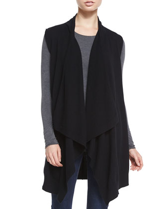 Cashmere Long Draped Vest, Black