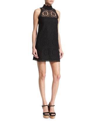 Sleeveless Crochet Mock-Neck Dress, Black