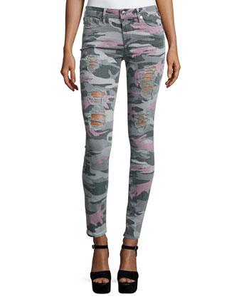 Halle Super-Skinny Jeans, Distressed Camo