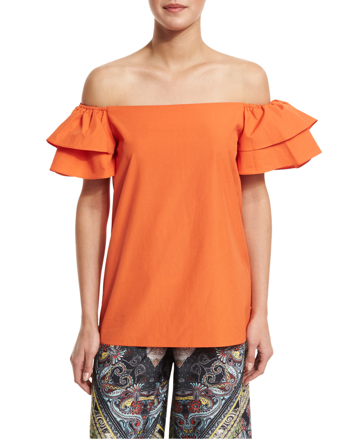 Loryn Off-the-Shoulder Ruffle-Sleeve Blouse, Orange, Size: L - Alice + Olivia