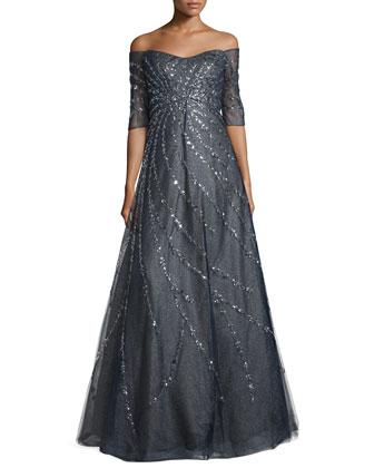 Off-The-Shoulder Embellished Gown, Navy