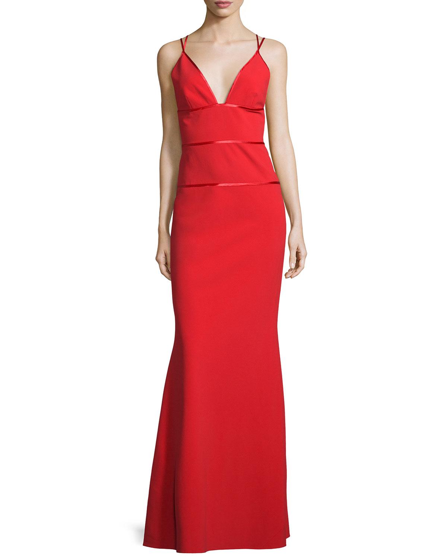 Sleeveless V-Neck Column Gown, Poppy, Size: 6 - Jill Jill Stuart