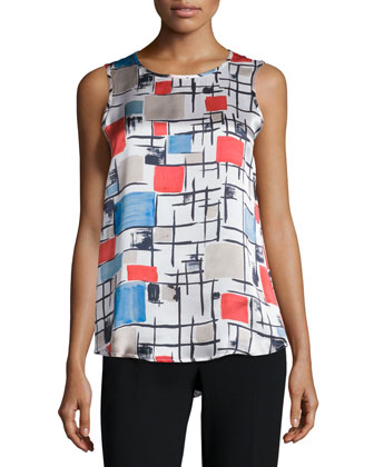 Sleeveless Round-Neck Printed Top, Multi Colors