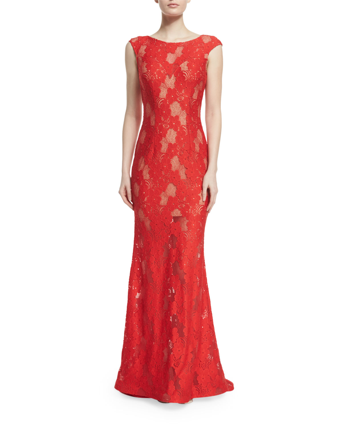 Cap-Sleeve Lace Column Gown, Size: 0, Red/Nude - Jovani