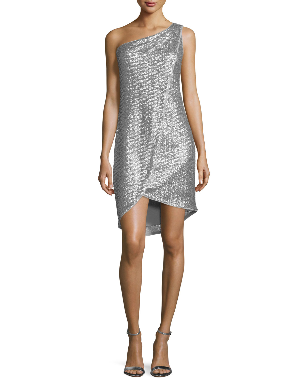 One-Shoulder Embellished Faux-Wrap Dress, Vapor/Silver, Size: 0 - Halston Heritage