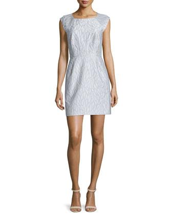 Cap-Sleeve Structured Dress, Vapor