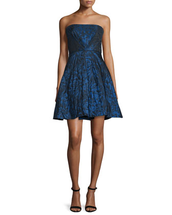 Strapless Fit-&-Flare Dress, Sapphire