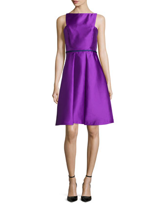 Sleeveless Apron-Front Cocktail Dress, Orchid