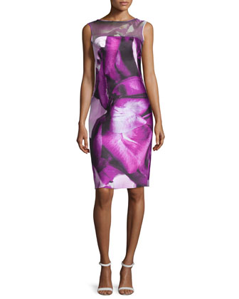 Sleeveless Petal-Print Cocktail Dress, Orchid