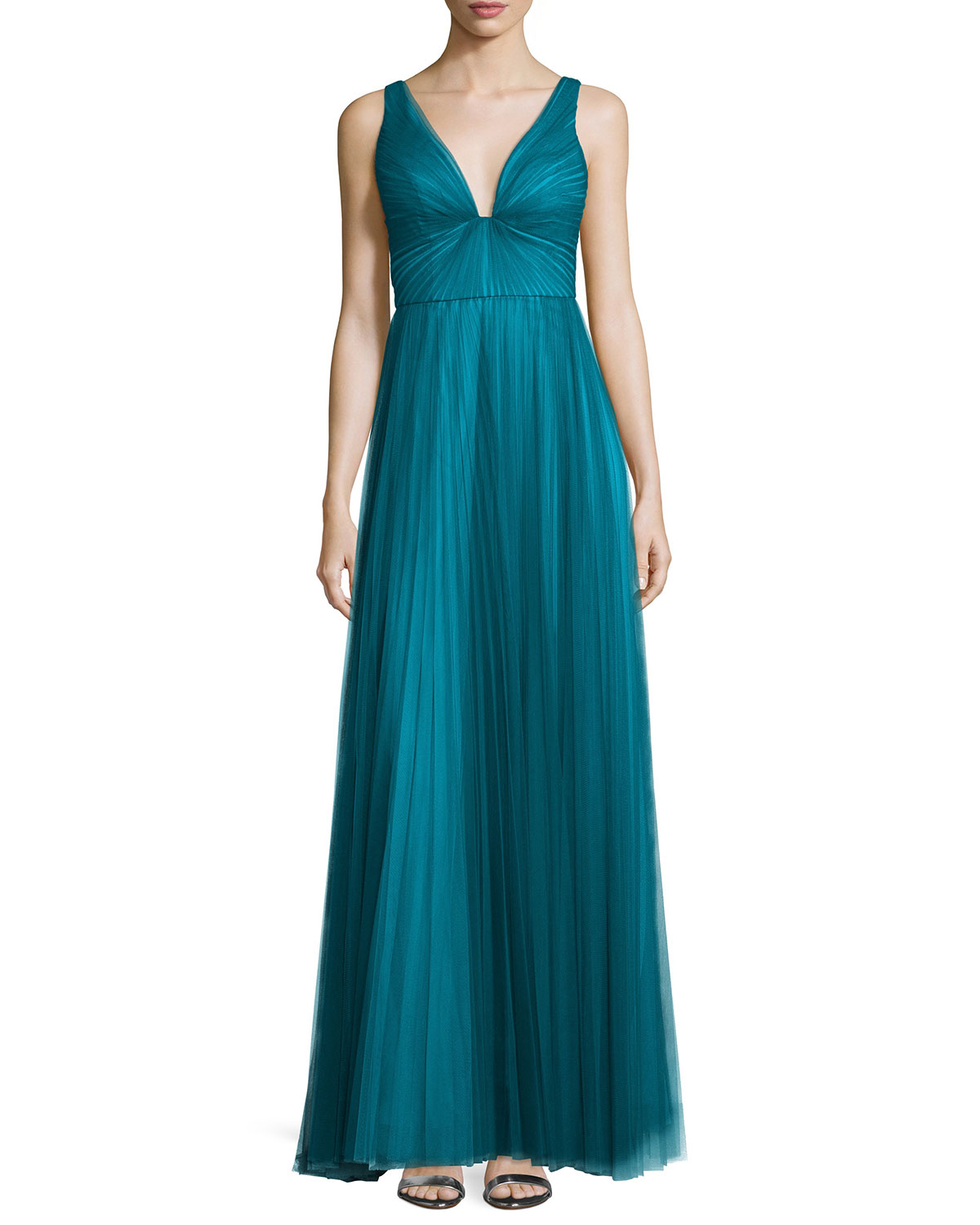 Sleeveless V-Neck Plisse Gown, Teal (Blue), Size: 0 - ML Monique Lhuillier