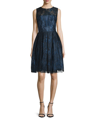 Sleeveless Fit-&-Flare Lace Dress, Midnight