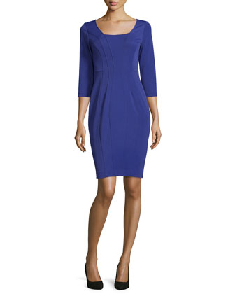 Adele 3/4-Sleeve Sheath Dress, Amethyst