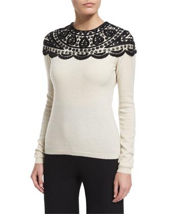 Embellished-Yoke Cashmere Sweater & High-Waist Wide-Leg Pants