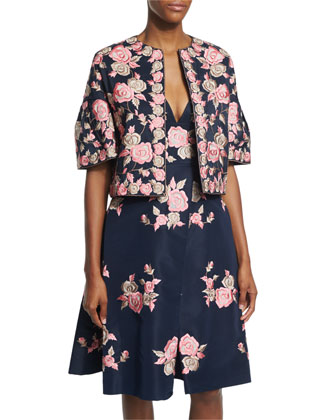 Floral-Embroidered Open-Front Jacket, Navy/Pink