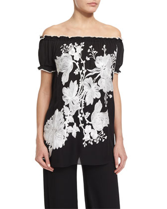 Off-The-Shoulder Floral-Embroidered Peasant Top, Black/White