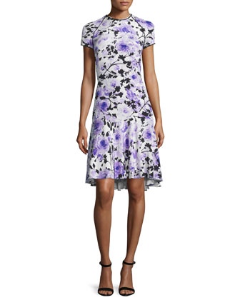 Short-Sleeve Floral-Print Cocktail Dress, Purple/White