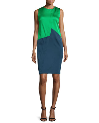 Erin Sleeveless Jewel-Neck Colorblock Dress, Lime