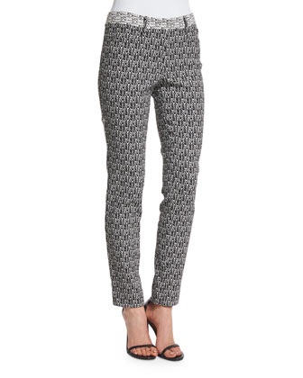 Printed Skinny Ankle Pants, Black/Bone